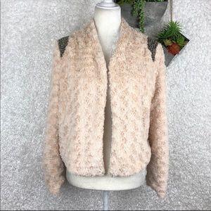 Miss Me Envy Me Faux Fur Open Front Jacket | M